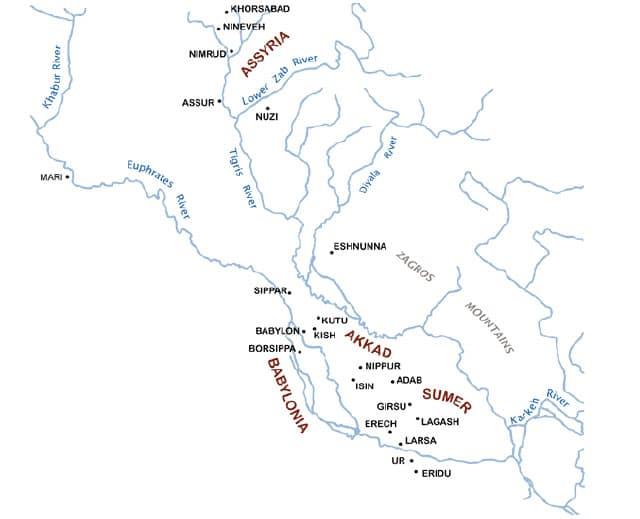 En karta på var Larsa ligger