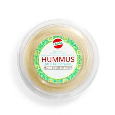 Produktbild på hummus från Larsa med smak av koriander.