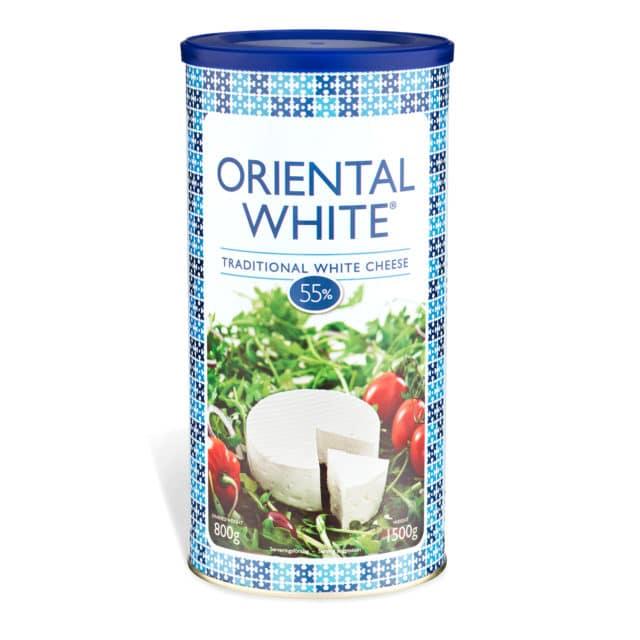 Produktbild på vitost Oriental White traditinal 800g i olika nyanser av blå avlång förpackning.