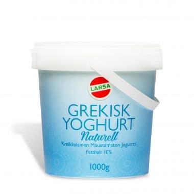 Produkt bild på Larsa Grekisk naturell yoghurt i en blå och vit hink, 1kg.