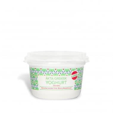 Produktbild på Äkta grekisk yoghurt i en liten bägare