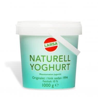 Produktbild på Naturell yoghurt från Larsa i 1 kg hink.