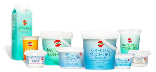 Bild på Larsas olika produkten. Ayran, Lassi, Yoghurt