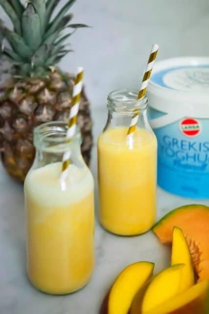 Smoothie med ananas, mango & melon