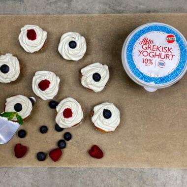 Yoghurtfrosting på muffins
